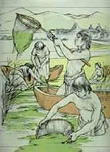 Mayas récoltant la spiruline
